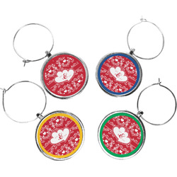 Heart Damask Wine Charms (Set of 4) (Personalized)
