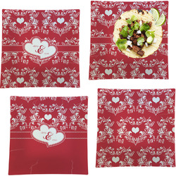 """Heart Damask Set of 4 Glass Square Lunch / Dinner Plate 9.5"""" (Personalized)"""
