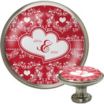 Heart Damask Cabinet Knob (Silver) (Personalized)