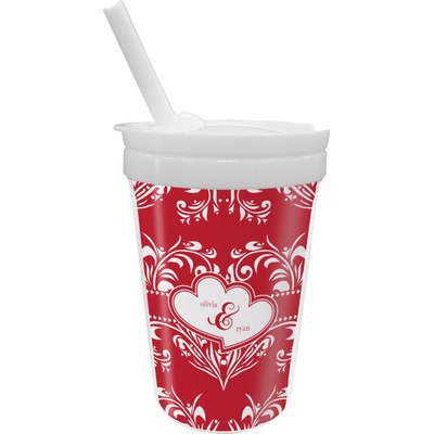 Heart Damask Sippy Cup with Straw (Personalized)
