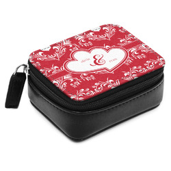 Heart Damask Small Leatherette Travel Pill Case (Personalized)