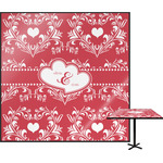 Heart Damask Square Table Top (Personalized)