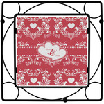 Heart Damask Square Trivet (Personalized)