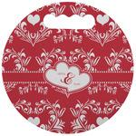 Heart Damask Stadium Cushion (Round) (Personalized)