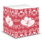 Heart Damask Sticky Note Cube (Personalized)