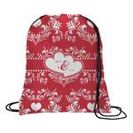 Heart Damask Drawstring Backpack (Personalized)