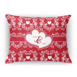 Heart Damask Rectangular Throw Pillow Case (Personalized)