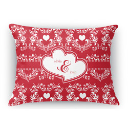Heart Damask Rectangular Throw Pillow Case (Personalized)