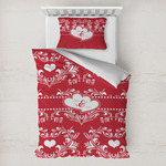 Heart Damask Toddler Bedding w/ Couple's Names