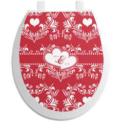 Heart Damask Toilet Seat Decal (Personalized)