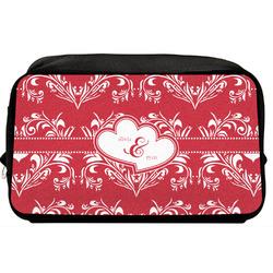Heart Damask Toiletry Bag / Dopp Kit (Personalized)