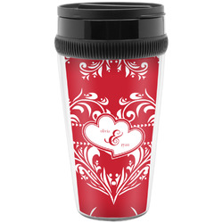 Heart Damask Travel Mug (Personalized)