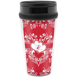 Heart Damask Travel Mugs (Personalized)