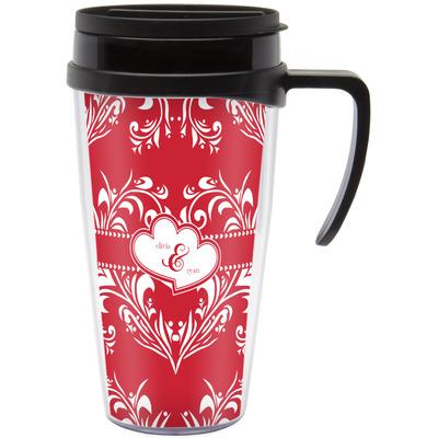 Heart Damask Travel Mug with Handle (Personalized)