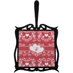 Heart Damask Trivet with Handle (Personalized)