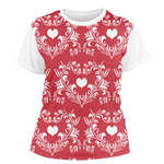 Heart Damask Women's Crew T-Shirt (Personalized)