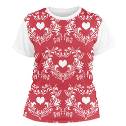 Heart Damask Women's Crew T-Shirt (Personalized)