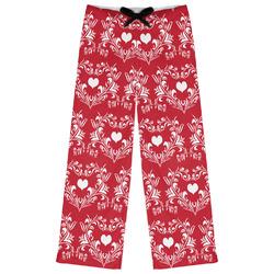 Heart Damask Womens Pajama Pants (Personalized)