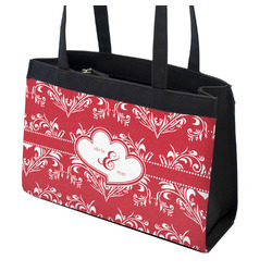 Heart Damask Zippered Everyday Tote (Personalized)