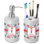 London Bathroom Accessories Set (Ceramic) (Personalized)