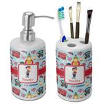 London Bathroom Accessories Set (Ceramic) (Personalized)