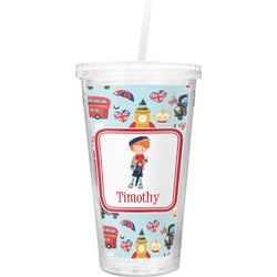 London Double Wall Tumbler with Straw (Personalized)
