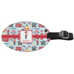 London Genuine Leather Oval Luggage Tag (Personalized)