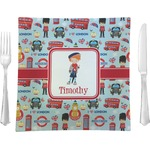 """London Glass Square Lunch / Dinner Plate 9.5"""" - Single or Set of 4 (Personalized)"""