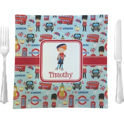 "London 9.5"" Glass Square Lunch / Dinner Plate- Single or Set of 4 (Personalized)"