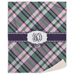 Plaid with Pop Sherpa Throw Blanket (Personalized)