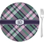 """Plaid with Pop Glass Appetizer / Dessert Plates 8"""" - Single or Set (Personalized)"""