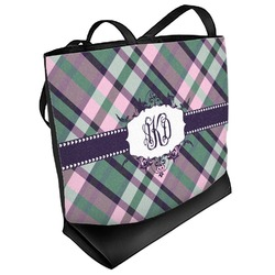 Plaid with Pop Beach Tote Bag (Personalized)
