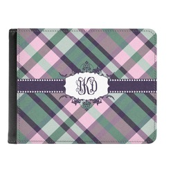 Plaid with Pop Genuine Leather Men's Bi-fold Wallet (Personalized)