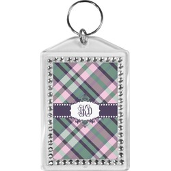 Plaid with Pop Bling Keychain (Personalized)