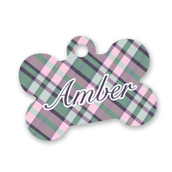 Plaid with Pop Bone Shaped Dog Tag (Personalized)