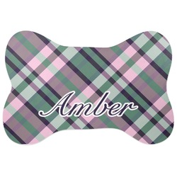Plaid with Pop Bone Shaped Dog Food Mat (Personalized)