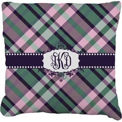 """Plaid with Pop Faux-Linen Throw Pillow 26"""" (Personalized)"""