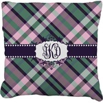 Plaid with Pop Faux-Linen Throw Pillow (Personalized)