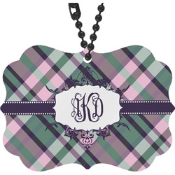Plaid with Pop Rear View Mirror Charm (Personalized)