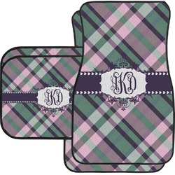 Plaid with Pop Car Floor Mats Set - 2 Front & 2 Back (Personalized)