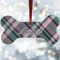 Plaid with Pop Ceramic Dog Ornaments w/ Monogram
