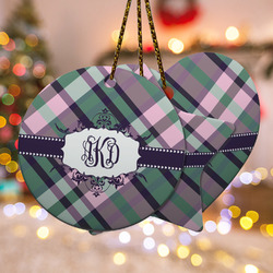 Plaid with Pop Ceramic Ornament - Double Sided w/ Monogram