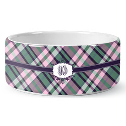 Plaid with Pop Ceramic Pet Bowl (Personalized)