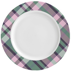 Plaid with Pop Ceramic Dinner Plates (Set of 4) (Personalized)