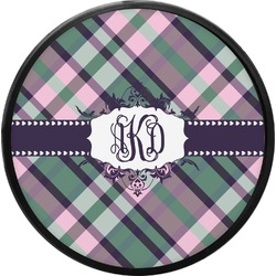 Plaid with Pop Round Trailer Hitch Cover (Personalized)