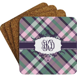 Plaid with Pop Coaster Set (Personalized)