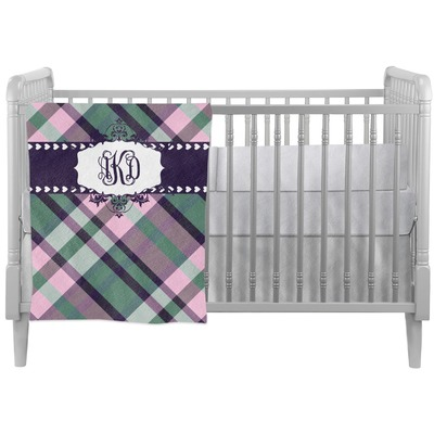 Plaid with Pop Crib Comforter / Quilt (Personalized)