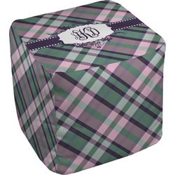 """Plaid with Pop Cube Pouf Ottoman - 18"""" (Personalized)"""