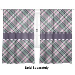 "Plaid with Pop Curtains - 20""x63"" Panels - Lined (2 Panels Per Set) (Personalized)"