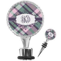 Plaid with Pop Wine Bottle Stopper (Personalized)